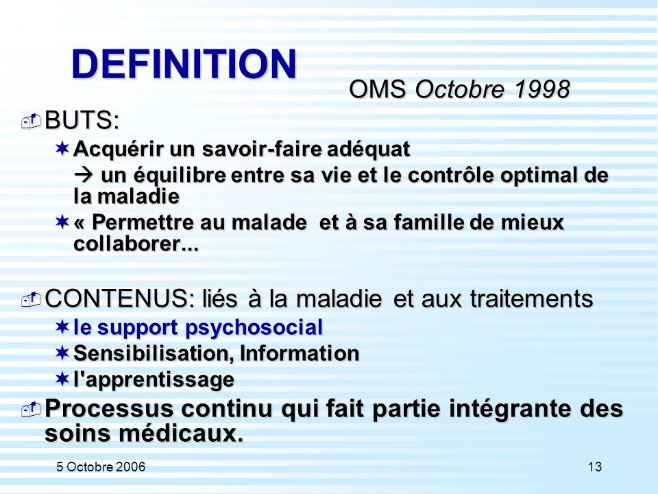 5 Octobre 200613 DEFINITION OMS Octobre 1998  BUTS:  Acquérir un savoir-faire adéquat  un équilibre entre sa vie et le contrôle optimal de la malad