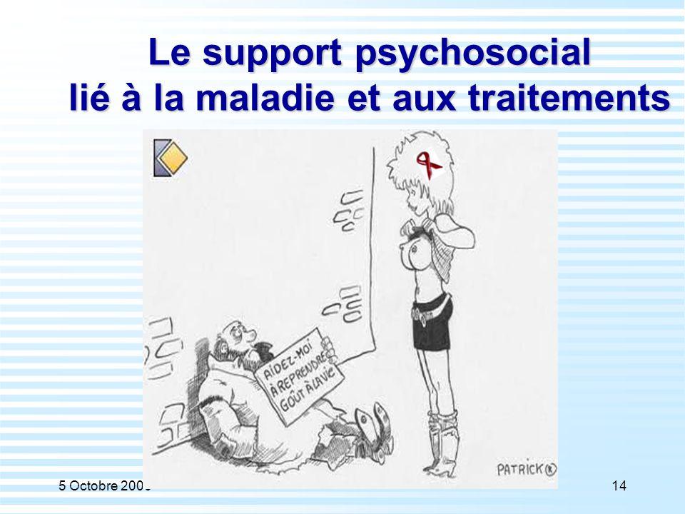 5 Octobre 200614 Le support psychosocial lié à la maladie et aux traitements