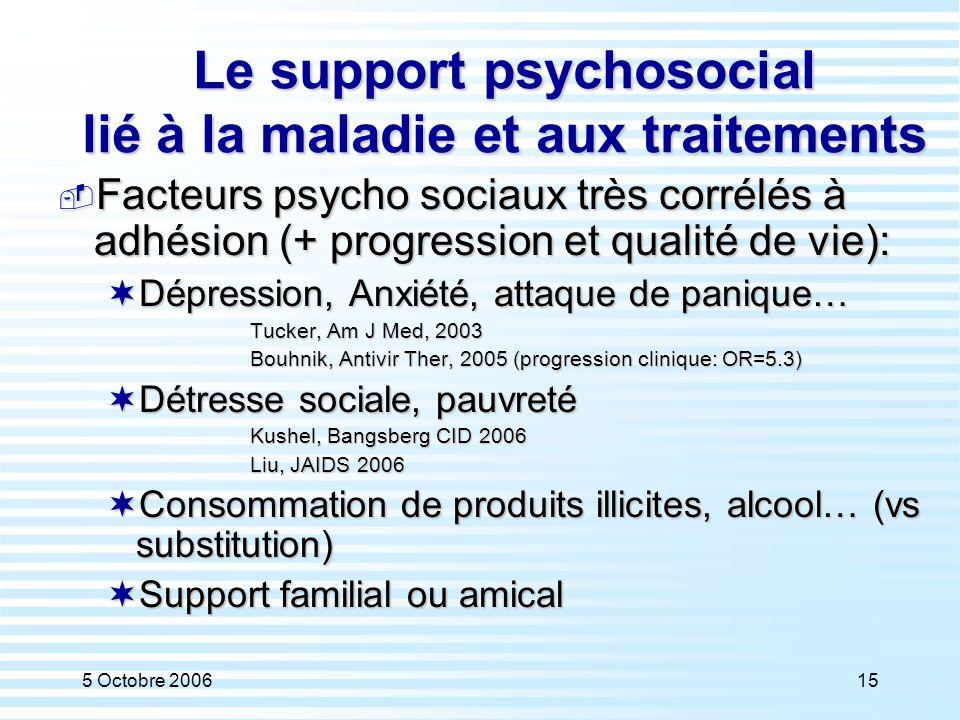 5 Octobre 200615 Le support psychosocial lié à la maladie et aux traitements  Facteurs psycho sociaux très corrélés à adhésion (+ progression et qual