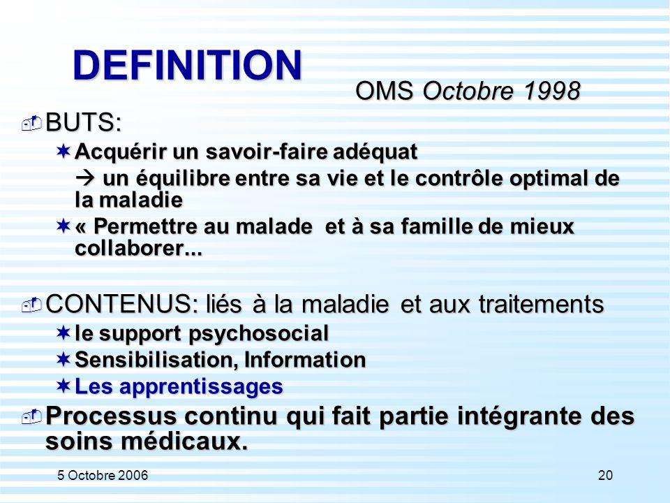 5 Octobre 200620 DEFINITION OMS Octobre 1998  BUTS:  Acquérir un savoir-faire adéquat  un équilibre entre sa vie et le contrôle optimal de la malad