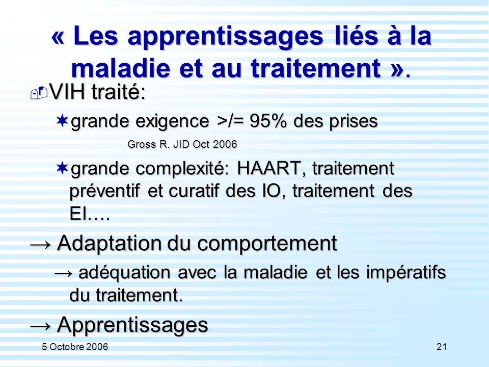 5 Octobre 200621 « Les apprentissages liés à la maladie et au traitement ».  VIH traité:  grande exigence >/= 95% des prises Gross R. JID Oct 2006 