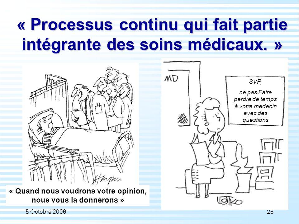 5 Octobre 200626 « Processus continu qui fait partie intégrante des soins médicaux. » « Quand nous voudrons votre opinion, nous vous la donnerons » SV