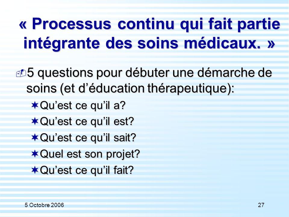5 Octobre 200627 « Processus continu qui fait partie intégrante des soins médicaux. »  5 questions pour débuter une démarche de soins (et d'éducation