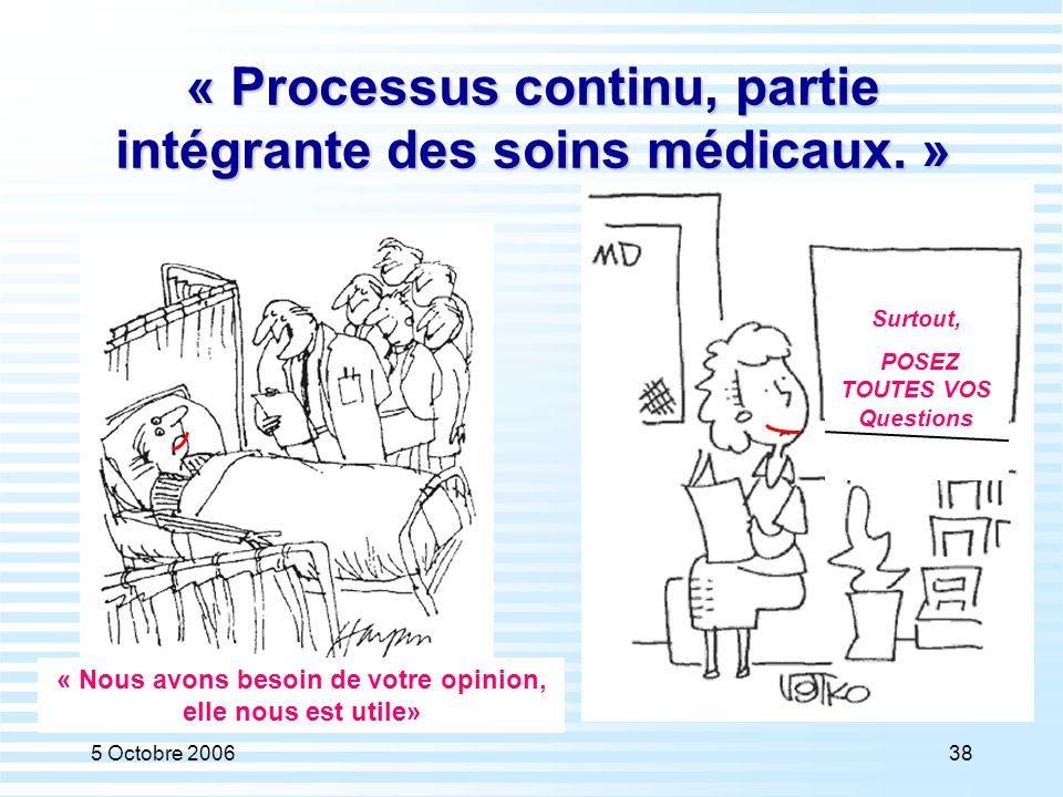 5 Octobre 200638 « Processus continu, partie intégrante des soins médicaux. » Surtout, POSEZ TOUTES VOS Questions « Nous avons besoin de votre opinion