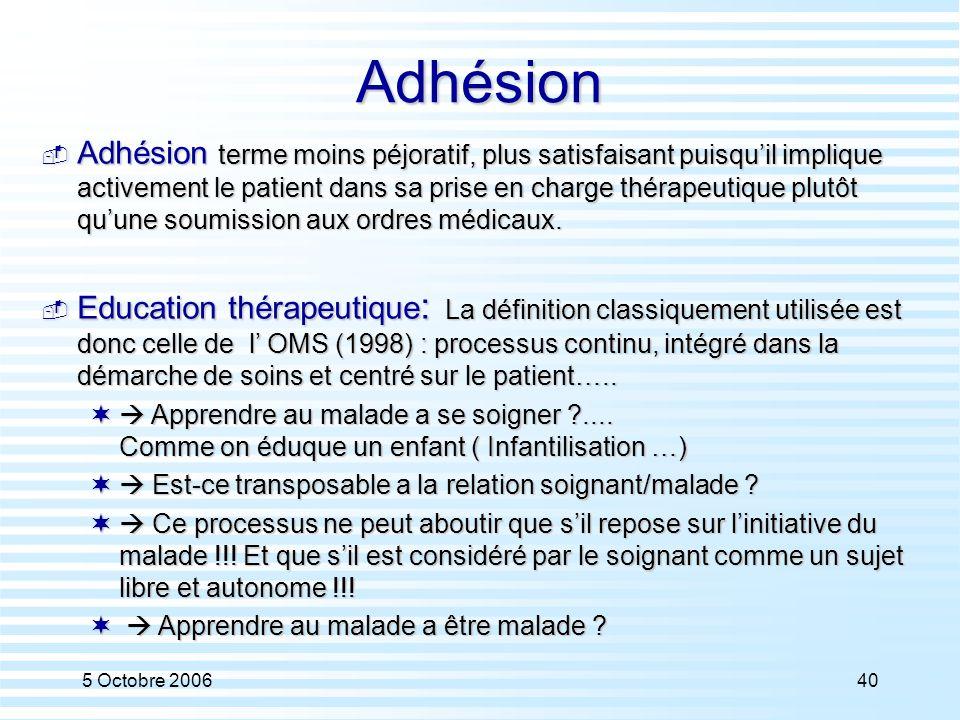 5 Octobre 200640Adhésion  Adhésion terme moins péjoratif, plus satisfaisant puisqu'il implique activement le patient dans sa prise en charge thérapeu