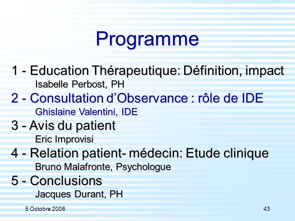 5 Octobre 200643 Programme 1 - Education Thérapeutique: Définition, impact Isabelle Perbost, PH 2 - Consultation d'Observance : rôle de IDE Ghislaine