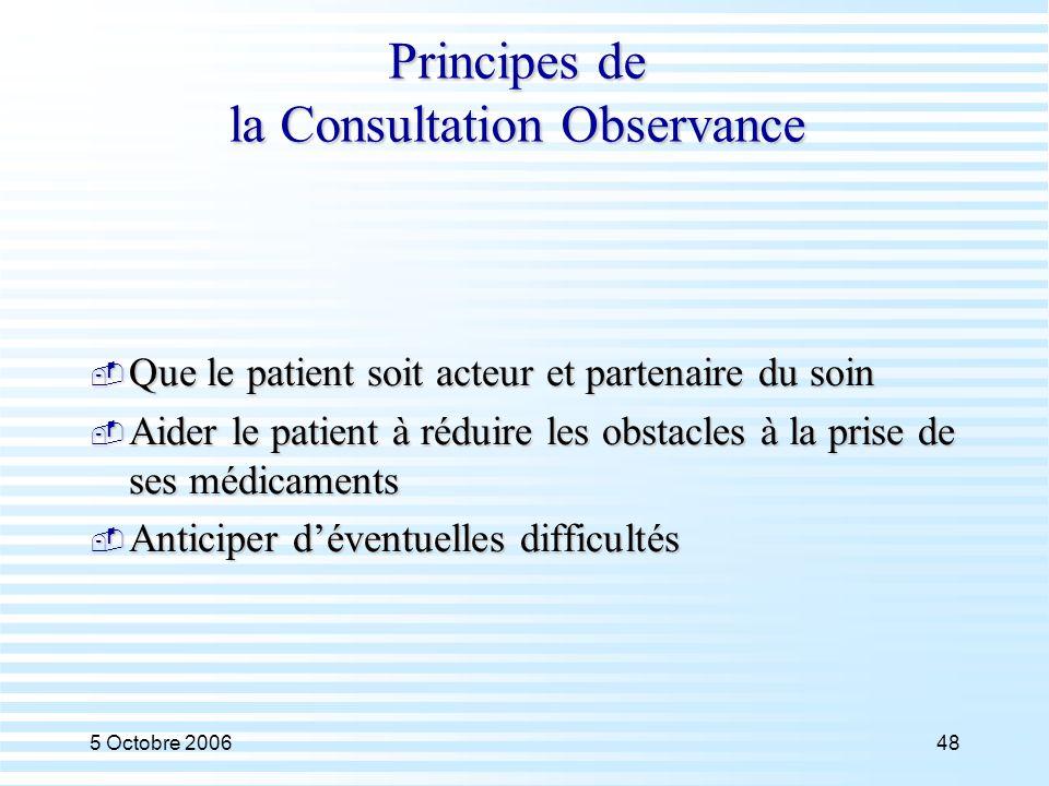 5 Octobre 200648 Principes de la Consultation Observance  Que le patient soit acteur et partenaire du soin  Aider le patient à réduire les obstacles