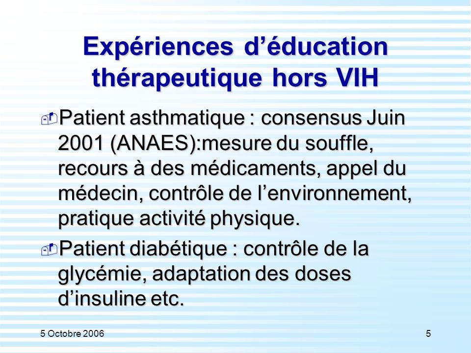 5 Octobre 20065 Expériences d'éducation thérapeutique hors VIH  Patient asthmatique : consensus Juin 2001 (ANAES):mesure du souffle, recours à des mé