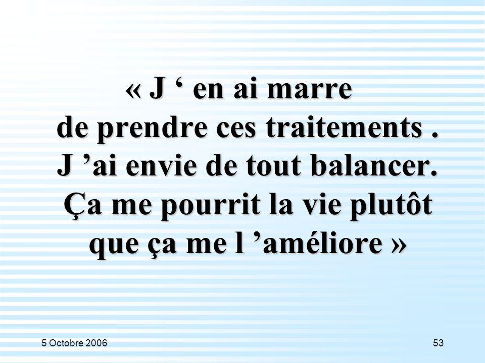 5 Octobre 200653 « J ' en ai marre de prendre ces traitements. J 'ai envie de tout balancer. Ça me pourrit la vie plutôt que ça me l 'améliore »
