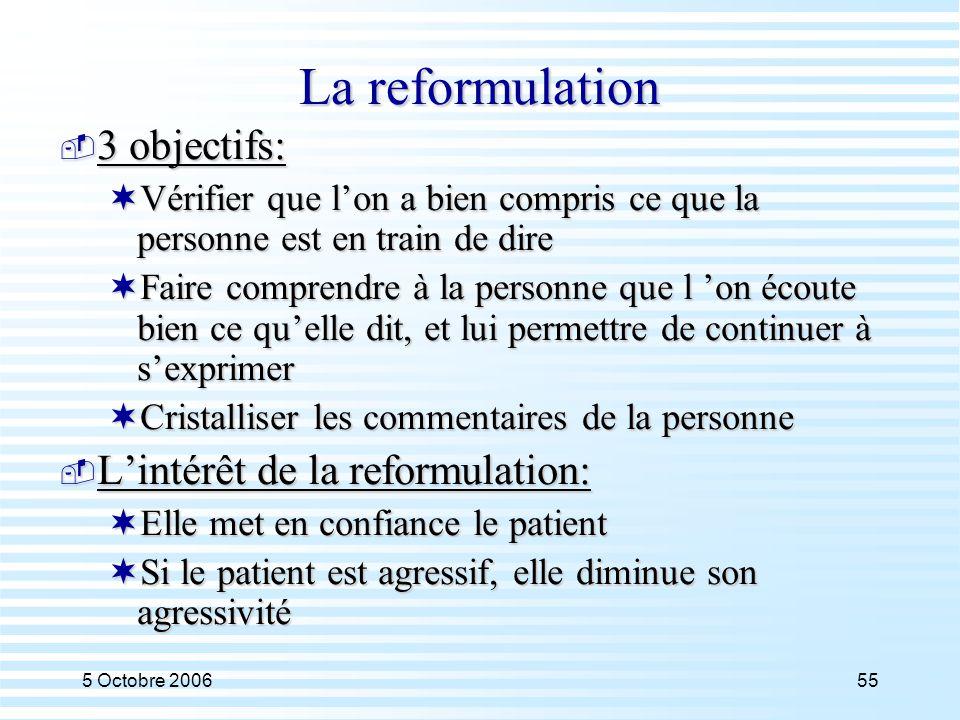5 Octobre 200655 La reformulation  3 objectifs:  Vérifier que l'on a bien compris ce que la personne est en train de dire  Faire comprendre à la pe