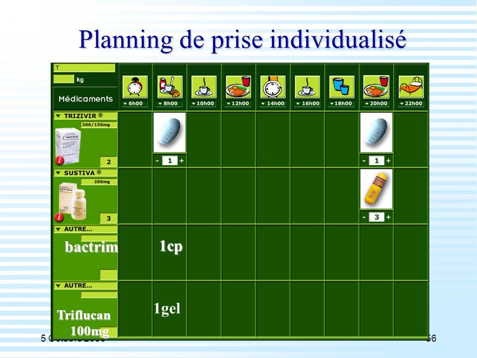 5 Octobre 200656 Planning de prise individualisé bactrim 1cp Triflucan 100mg 100mg 1gel