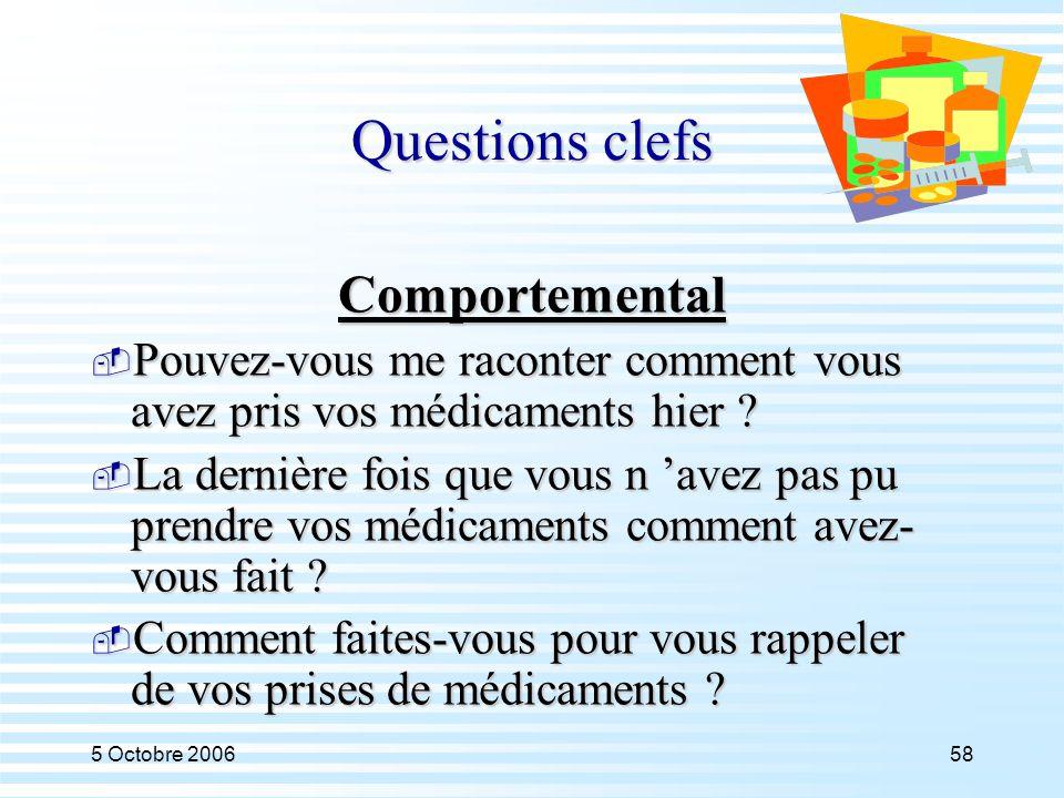 5 Octobre 200658 Questions clefs Comportemental  Pouvez-vous me raconter comment vous avez pris vos médicaments hier ?  La dernière fois que vous n