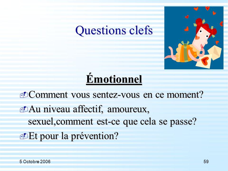 5 Octobre 200659 Questions clefs Émotionnel  Comment vous sentez-vous en ce moment?  Au niveau affectif, amoureux, sexuel,comment est-ce que cela se