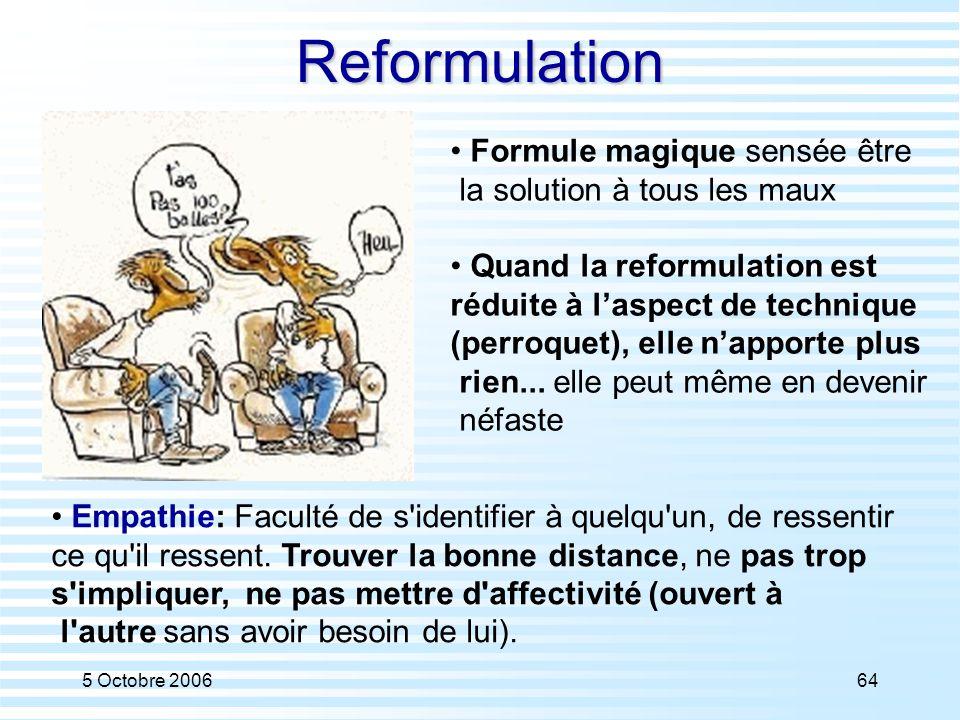 5 Octobre 200664Reformulation Formule magique sensée être la solution à tous les maux Quand la reformulation est réduite à l'aspect de technique (perr