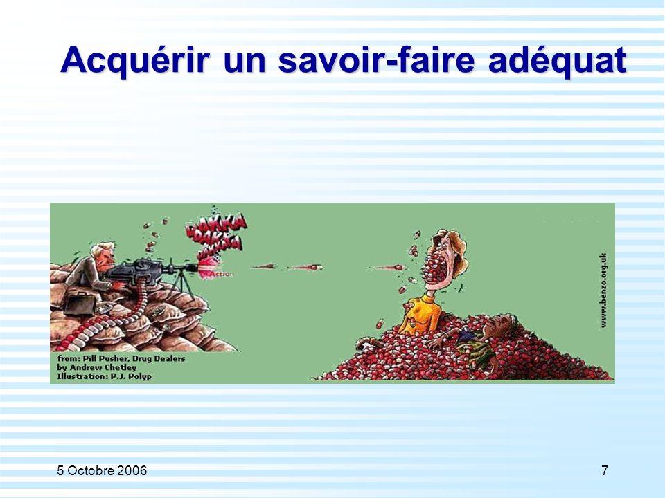 5 Octobre 200698 Risque d'un excès d'autonomisme Un malade moins passif, qui veut être informé, revendique son autonomie, se comporte en «consommateur de médecine ».