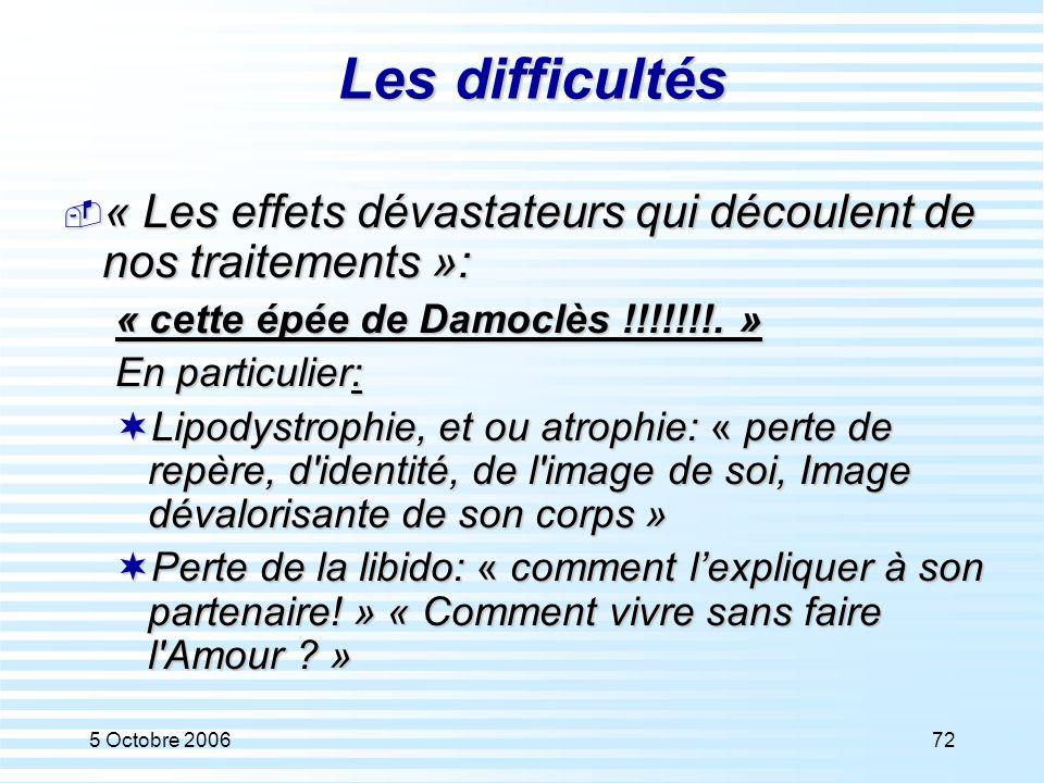 5 Octobre 200672 Les difficultés  « Les effets dévastateurs qui découlent de nos traitements »: « cette épée de Damoclès !!!!!!!. » En particulier: 
