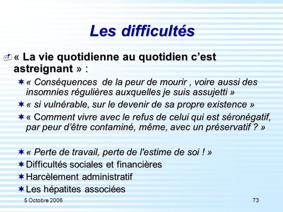 5 Octobre 200673 Les difficultés  « La vie quotidienne au quotidien c'est astreignant » :  « Conséquences de la peur de mourir, voire aussi des inso