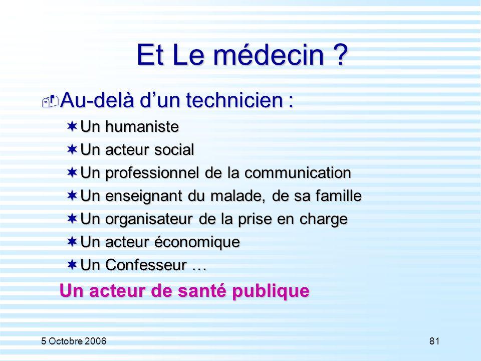 5 Octobre 200681 Et Le médecin ?  Au-delà d'un technicien :  Un humaniste  Un acteur social  Un professionnel de la communication  Un enseignant