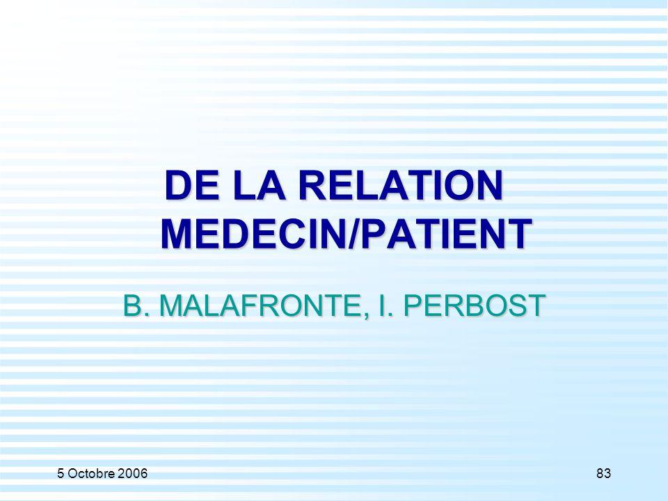 5 Octobre 200683 DE LA RELATION MEDECIN/PATIENT B. MALAFRONTE, I. PERBOST