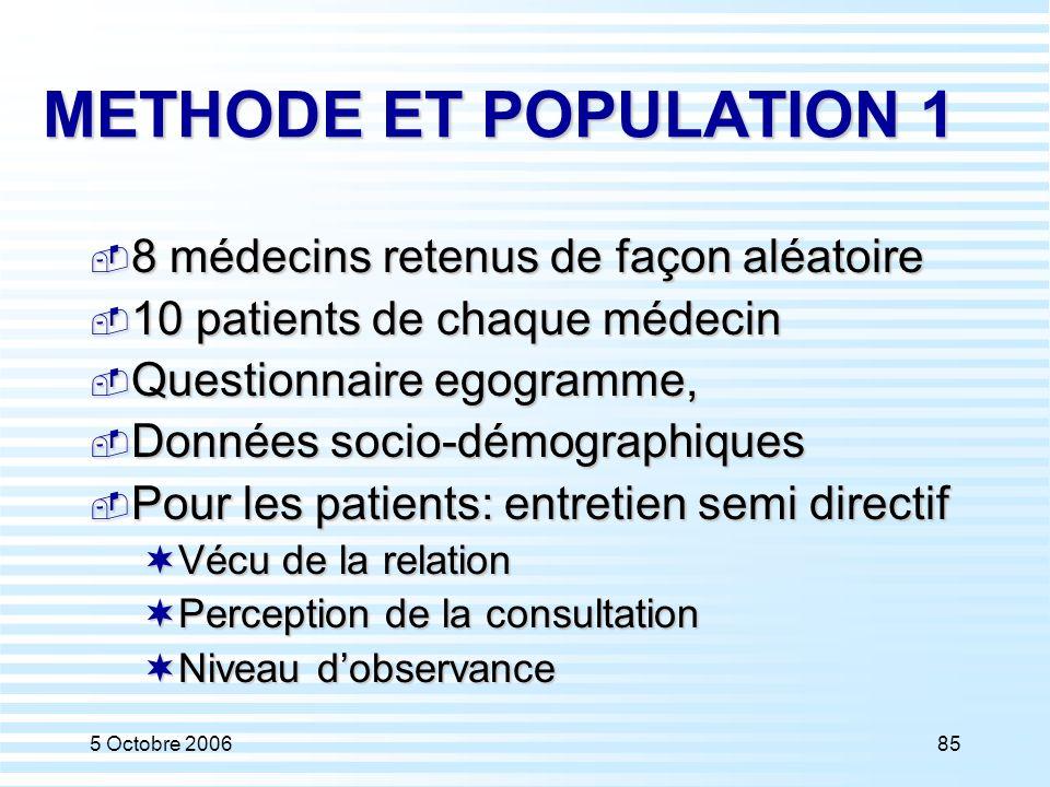 5 Octobre 200685 METHODE ET POPULATION 1  8 médecins retenus de façon aléatoire  10 patients de chaque médecin  Questionnaire egogramme,  Données