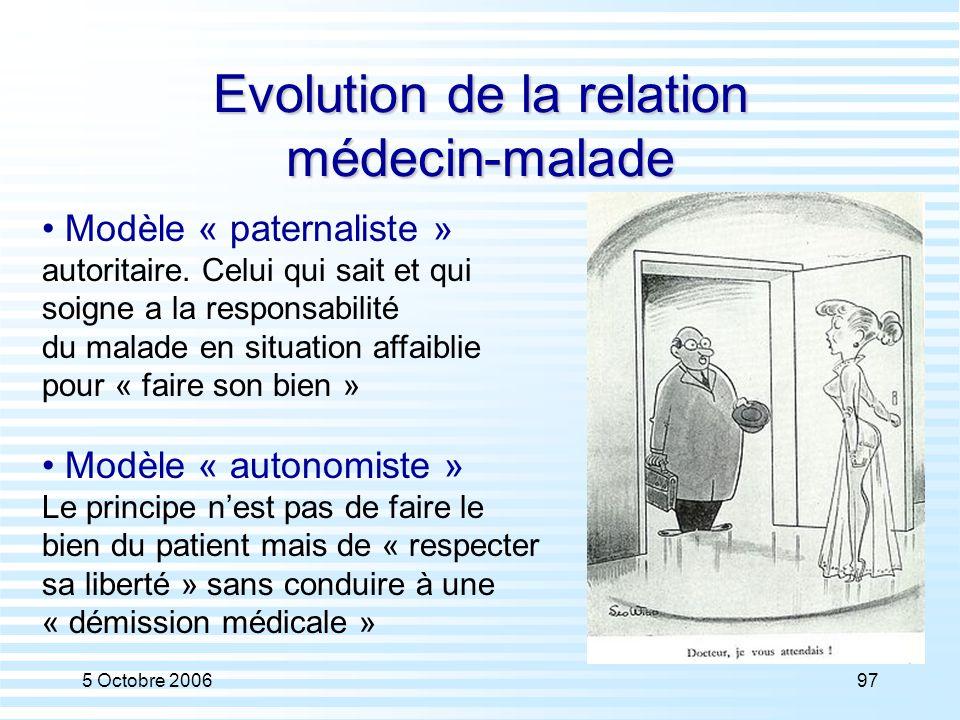 5 Octobre 200697 Evolution de la relation médecin-malade Modèle « paternaliste » autoritaire. Celui qui sait et qui soigne a la responsabilité du mala
