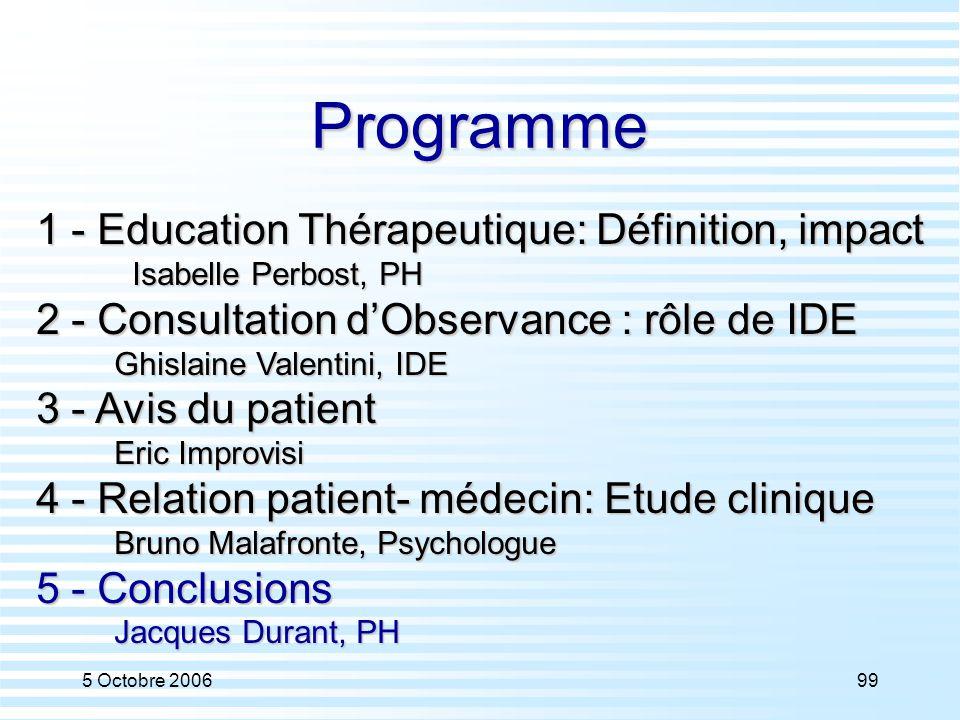 5 Octobre 200699 Programme 1 - Education Thérapeutique: Définition, impact Isabelle Perbost, PH 2 - Consultation d'Observance : rôle de IDE Ghislaine