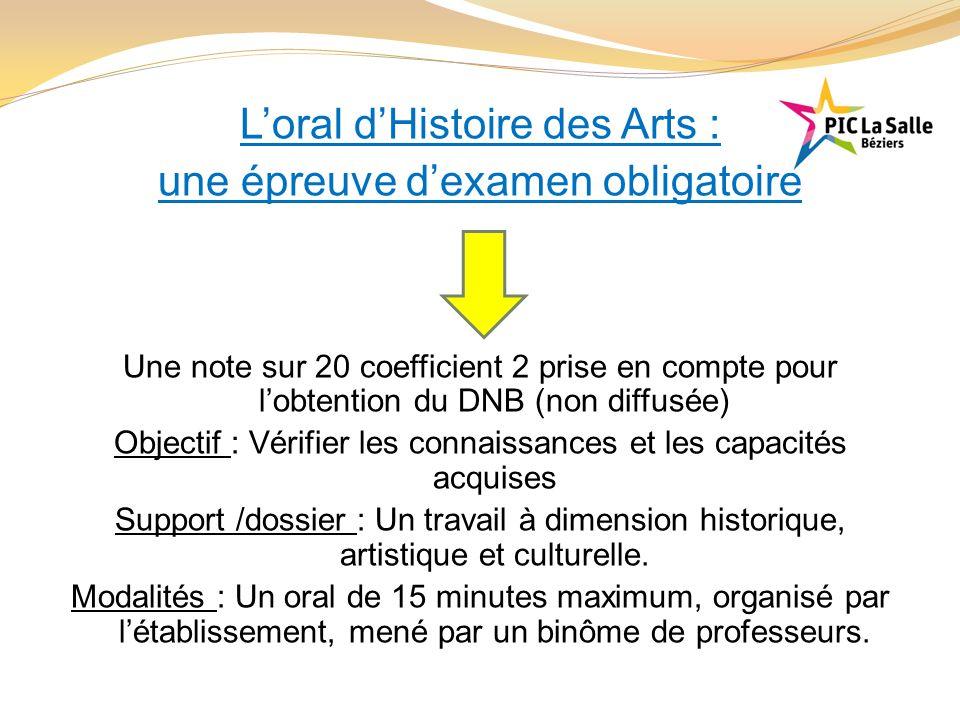 L'oral d'Histoire des Arts : une épreuve d'examen obligatoire Une note sur 20 coefficient 2 prise en compte pour l'obtention du DNB (non diffusée) Obj