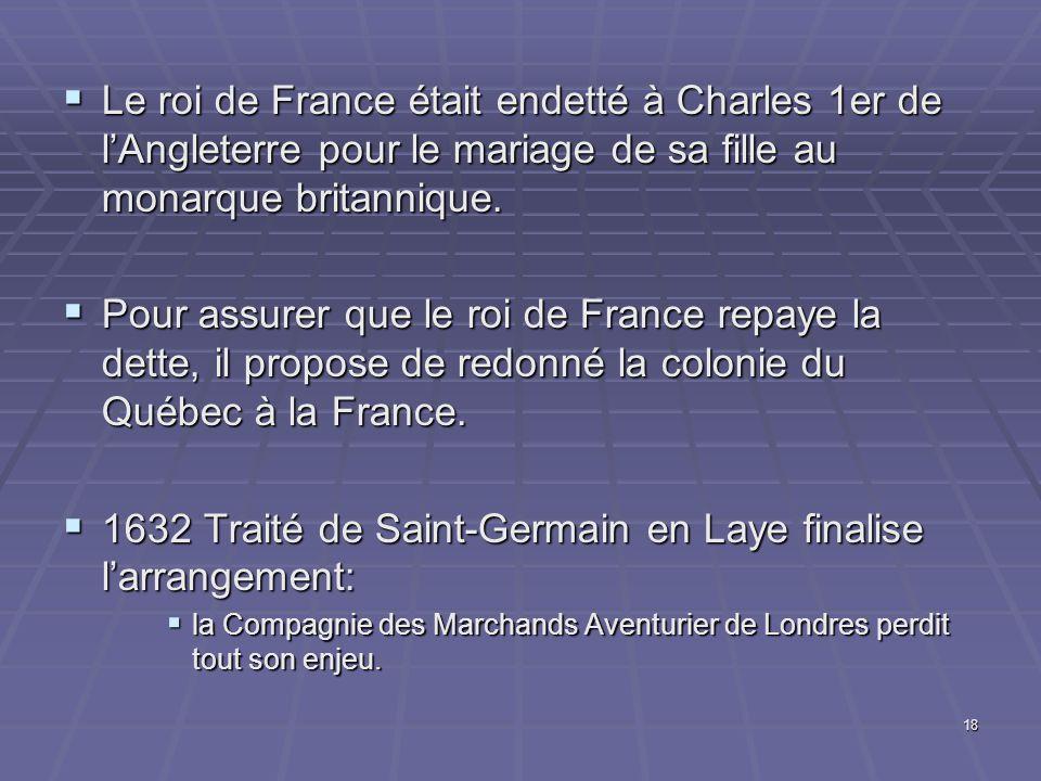 18  Le roi de France était endetté à Charles 1er de l'Angleterre pour le mariage de sa fille au monarque britannique.  Pour assurer que le roi de Fr