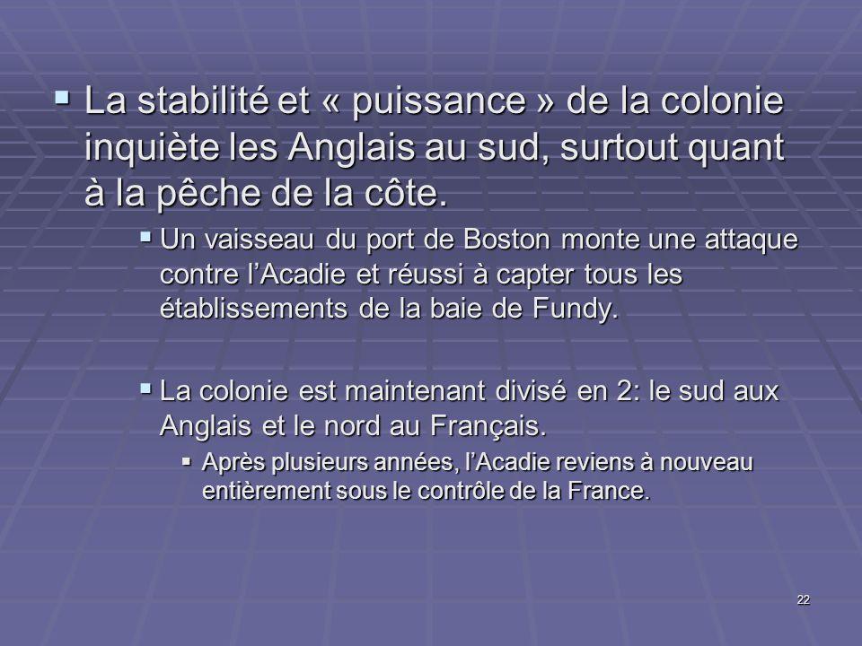 22  La stabilité et « puissance » de la colonie inquiète les Anglais au sud, surtout quant à la pêche de la côte.  Un vaisseau du port de Boston mon