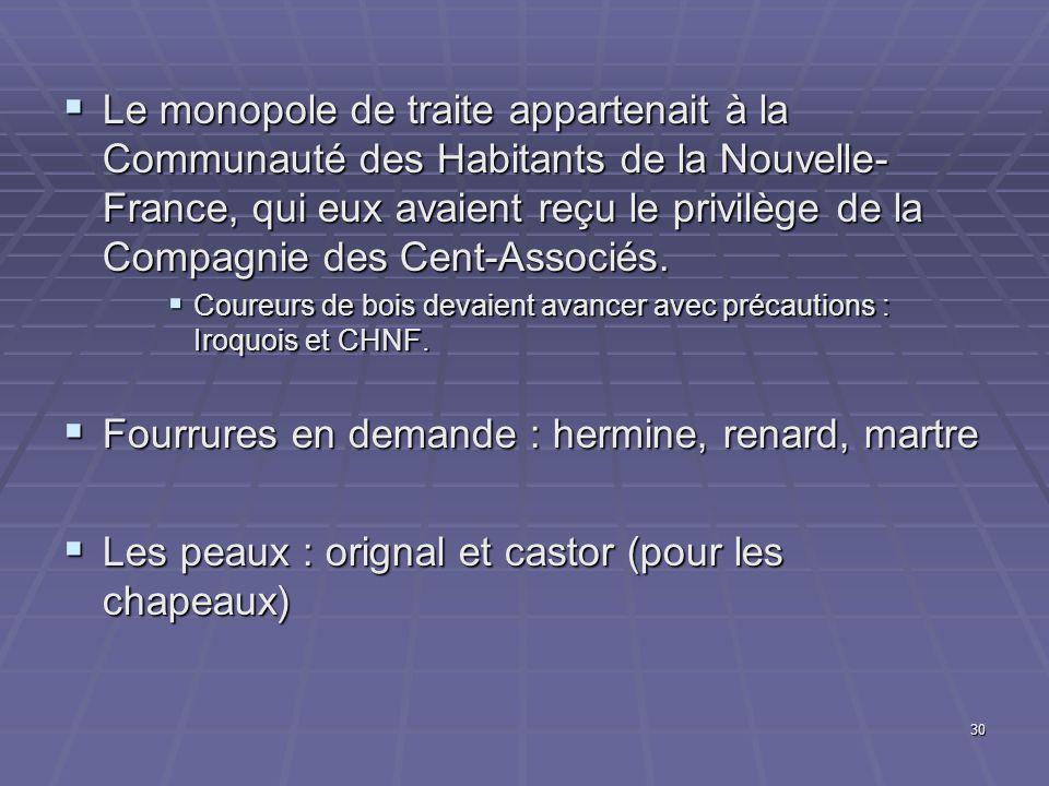 30  Le monopole de traite appartenait à la Communauté des Habitants de la Nouvelle- France, qui eux avaient reçu le privilège de la Compagnie des Cent-Associés.