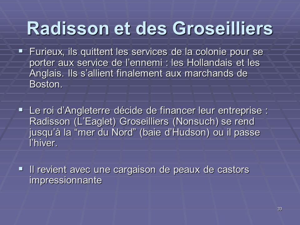 Radisson et des Groseilliers  Furieux, ils quittent les services de la colonie pour se porter aux service de l'ennemi : les Hollandais et les Anglais