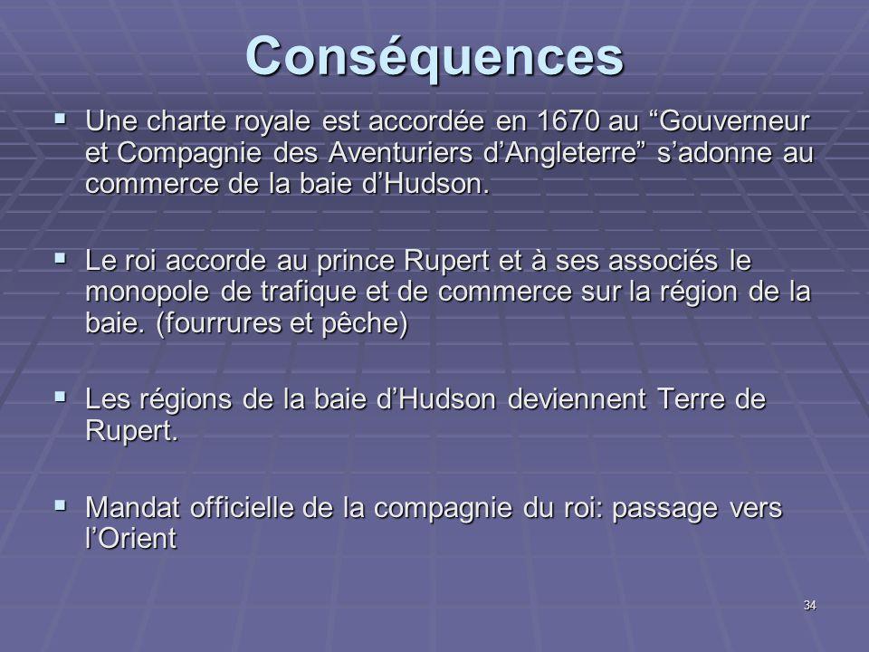 """Conséquences  Une charte royale est accordée en 1670 au """"Gouverneur et Compagnie des Aventuriers d'Angleterre"""" s'adonne au commerce de la baie d'Huds"""