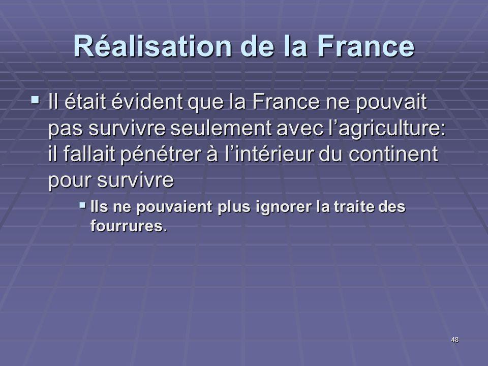 Réalisation de la France  Il était évident que la France ne pouvait pas survivre seulement avec l'agriculture: il fallait pénétrer à l'intérieur du continent pour survivre  Ils ne pouvaient plus ignorer la traite des fourrures.
