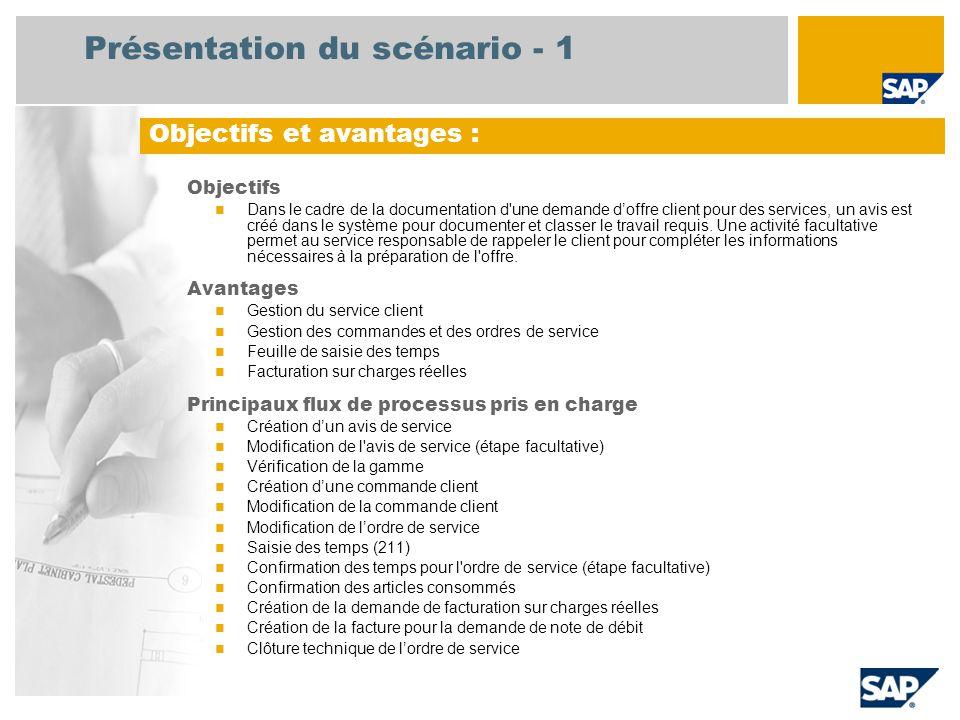 Présentation du scénario - 1 Objectifs Dans le cadre de la documentation d une demande d'offre client pour des services, un avis est créé dans le système pour documenter et classer le travail requis.