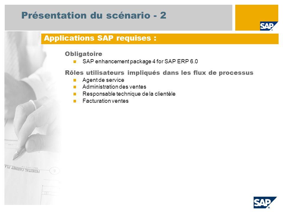 Présentation du scénario - 2 Obligatoire SAP enhancement package 4 for SAP ERP 6.0 Rôles utilisateurs impliqués dans les flux de processus Agent de service Administration des ventes Responsable technique de la clientèle Facturation ventes Applications SAP requises :