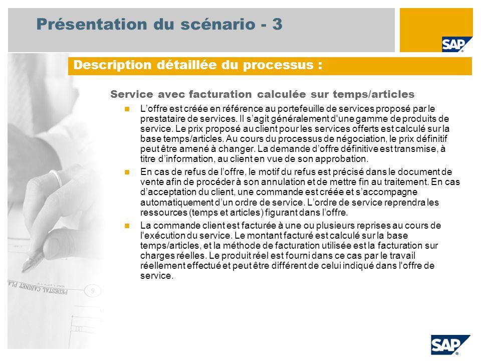Présentation du scénario - 3 Service avec facturation calculée sur temps/articles L'offre est créée en référence au portefeuille de services proposé p
