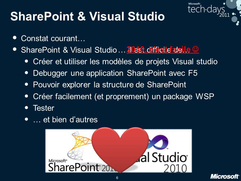 7 Les outils Visual Studio 2010 : Modèles de projet et d'élément Intégration des spécificités de SharePoint Déploiement et debugging Team Foundation Server 2010 : Gestionnaire de code source Gestion du projet (tâches, bugs, …) Serveur de build et intégration continue Reporting… … et bien plus !