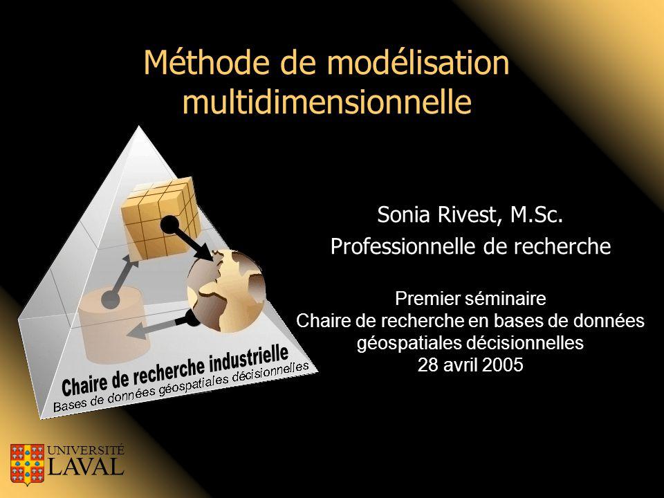Méthode de modélisation multidimensionnelle Sonia Rivest, M.Sc. Professionnelle de recherche Premier séminaire Chaire de recherche en bases de données