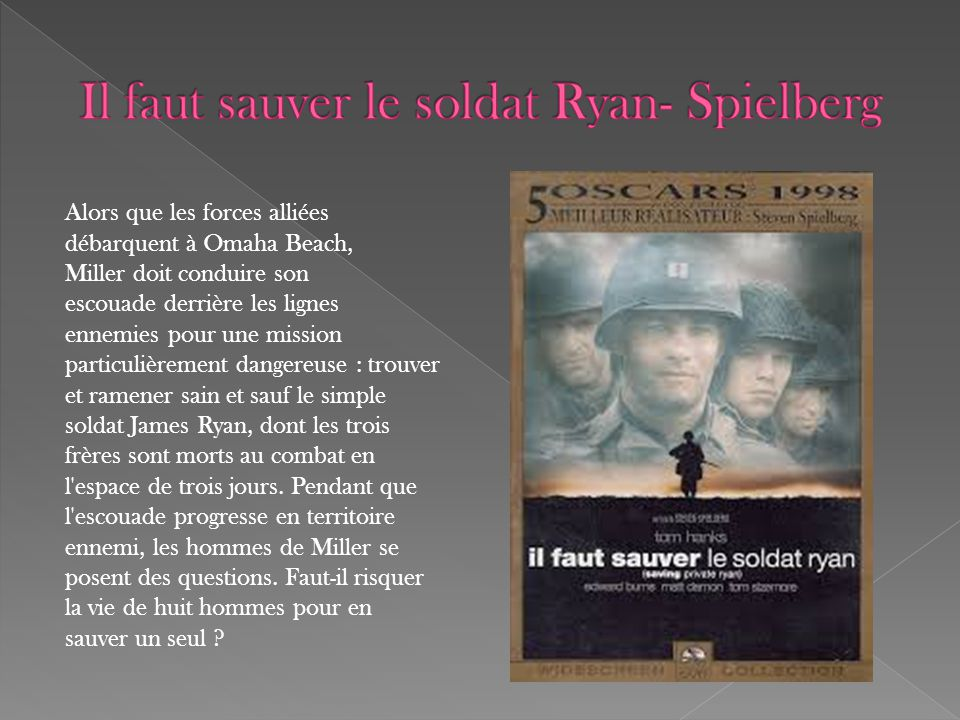Alors que les forces alliées débarquent à Omaha Beach, Miller doit conduire son escouade derrière les lignes ennemies pour une mission particulièremen