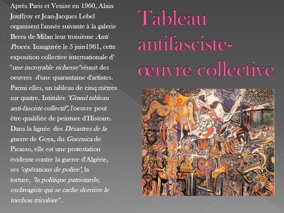 Après Paris et Venise en 1960, Alain Jouffroy et Jean-Jacques Lebel organisent l'année suivante à la galerie Brera de Milan leur troisième Anti Procès