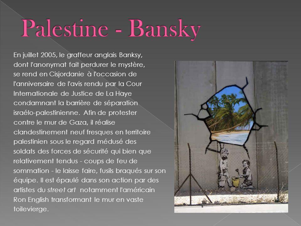 En juillet 2005, le graffeur anglais Banksy, dont l'anonymat fait perdurer le mystère, se rend en Cisjordanie à l'occasion de l'anniversaire de l'avis