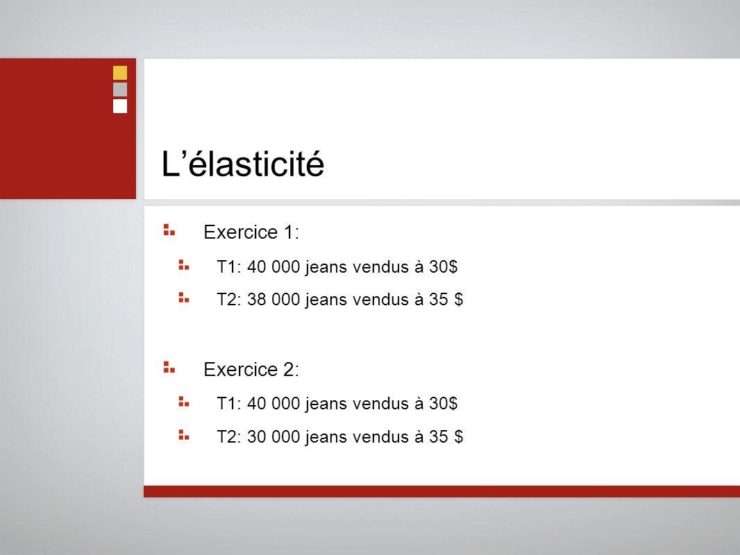 L'élasticité Exercice 1: T1: 40 000 jeans vendus à 30$ T2: 38 000 jeans vendus à 35 $ Exercice 2: T1: 40 000 jeans vendus à 30$ T2: 30 000 jeans vendu