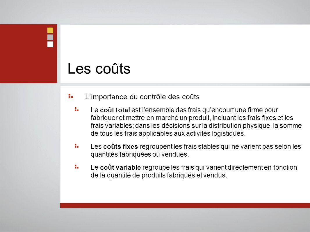 Les coûts L'importance du contrôle des coûts Le coût total est l'ensemble des frais qu'encourt une firme pour fabriquer et mettre en marché un produit, incluant les frais fixes et les frais variables; dans les décisions sur la distribution physique, la somme de tous les frais applicables aux activités logistiques.