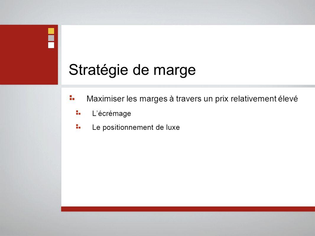 Stratégie de marge Maximiser les marges à travers un prix relativement élevé L'écrémage Le positionnement de luxe