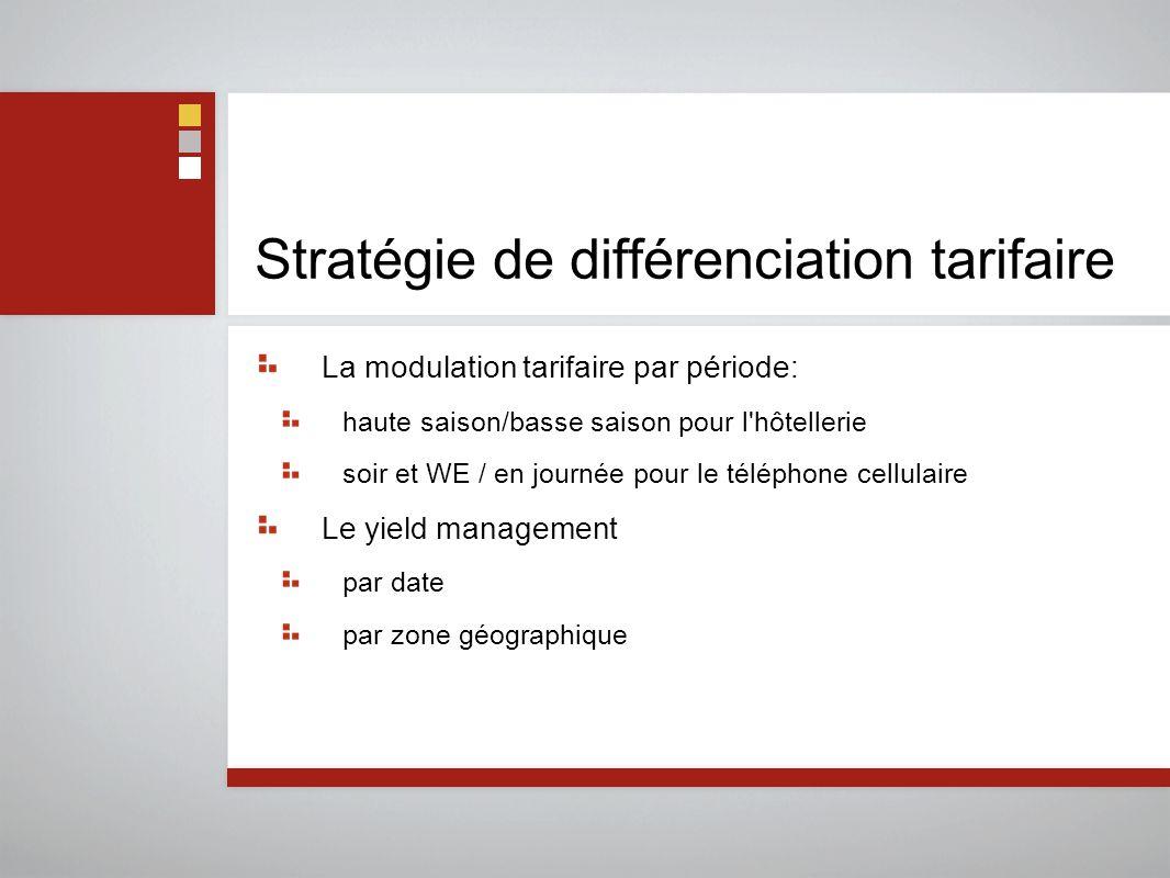 Stratégie de différenciation tarifaire La modulation tarifaire par période: haute saison/basse saison pour l'hôtellerie soir et WE / en journée pour l