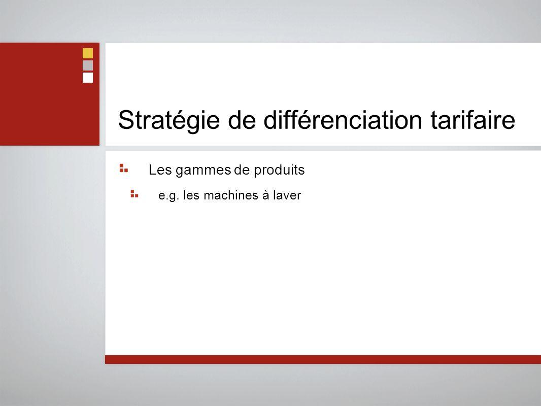 Stratégie de différenciation tarifaire Les gammes de produits e.g. les machines à laver