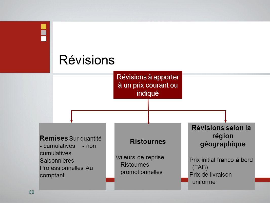 Révisions 68 Révisions à apporter à un prix courant ou indiqué Ristournes Valeurs de reprise Ristournes promotionnelles Révisions selon la région géog