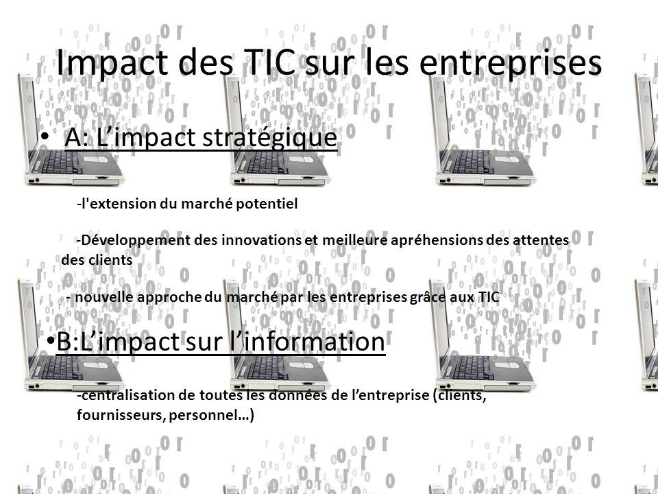 Impact des TIC sur les entreprises A: L'impact stratégique -l extension du marché potentiel -Développement des innovations et meilleure apréhensions des attentes des clients - nouvelle approche du marché par les entreprises grâce aux TIC B:L'impact sur l'information -centralisation de toutes les données de l'entreprise (clients, fournisseurs, personnel…)
