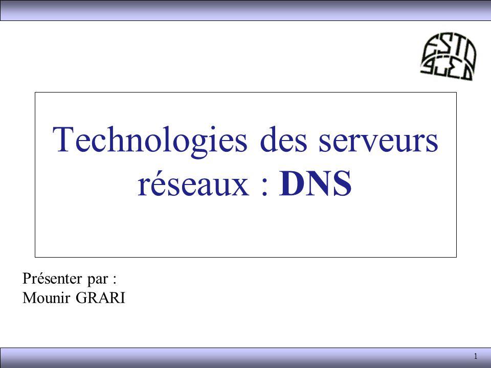 1 Technologies des serveurs réseaux : DNS Présenter par : Mounir GRARI