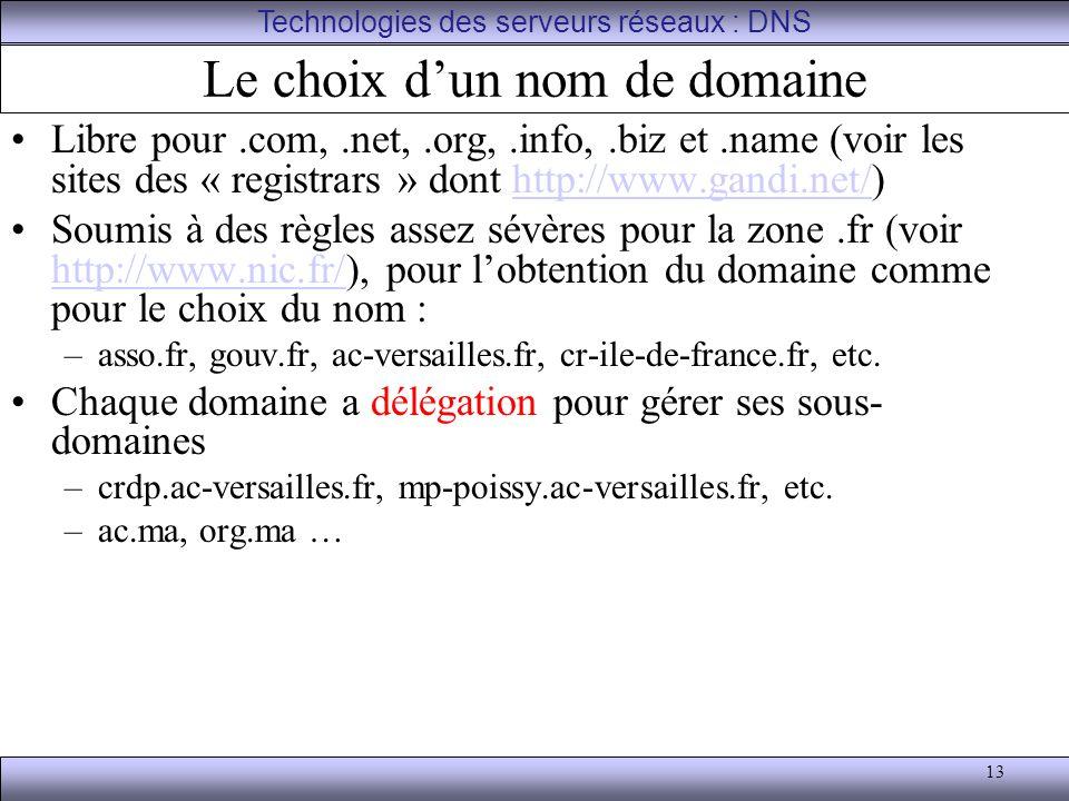 13 Le choix d'un nom de domaine Libre pour.com,.net,.org,.info,.biz et.name (voir les sites des « registrars » dont http://www.gandi.net/)http://www.g